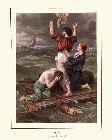 Shipwrecked sailors on a wooden raft, Hope, A sail, Victorian 19th Century
