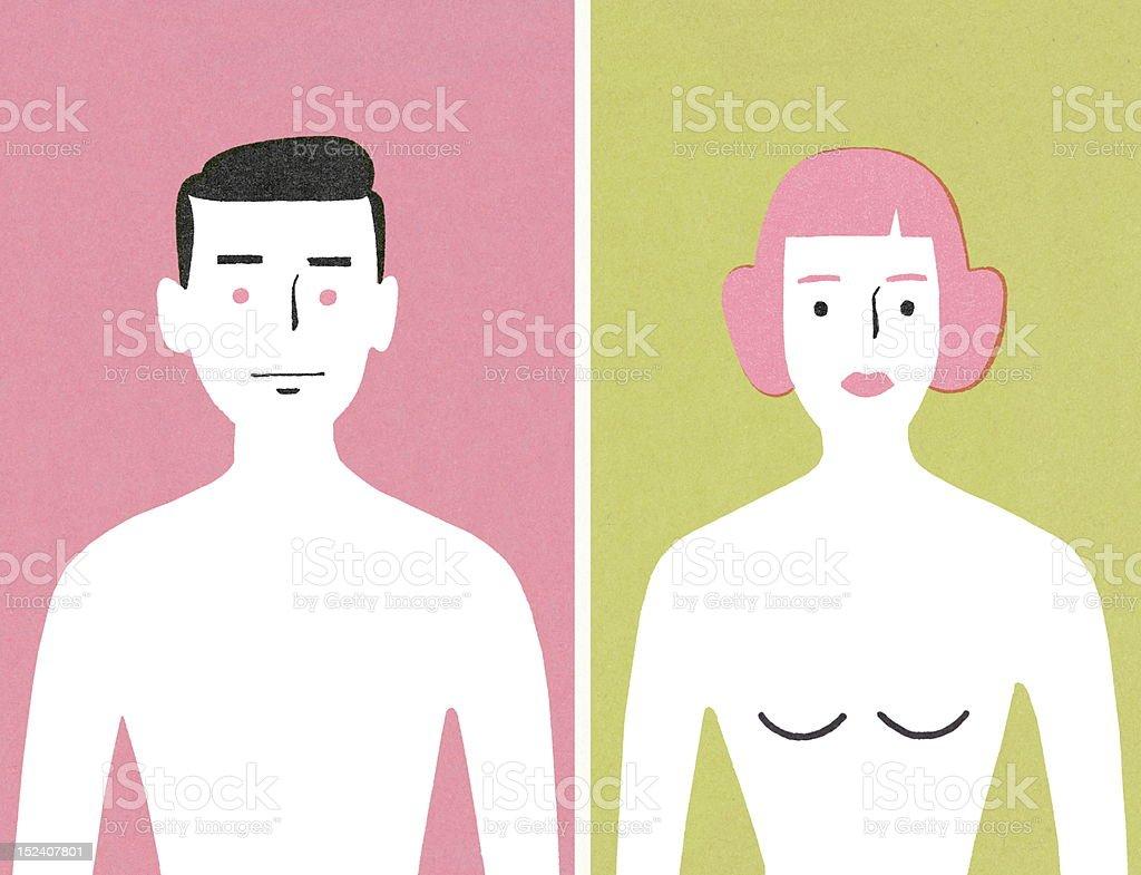 Nackter Oberkörper Mann Und Frau Stock Vektor Art und mehr Bilder ...