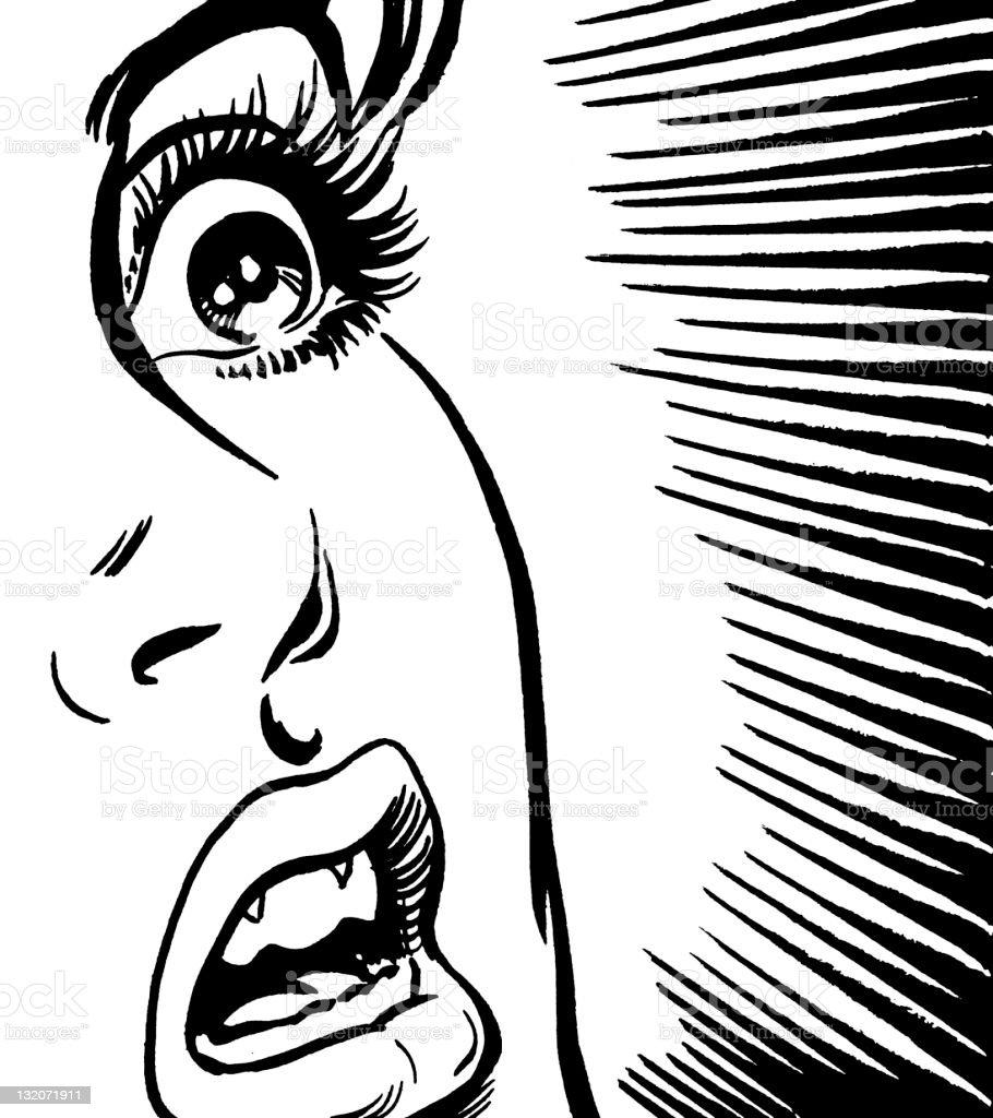 Shocked Woman Close-up vector art illustration