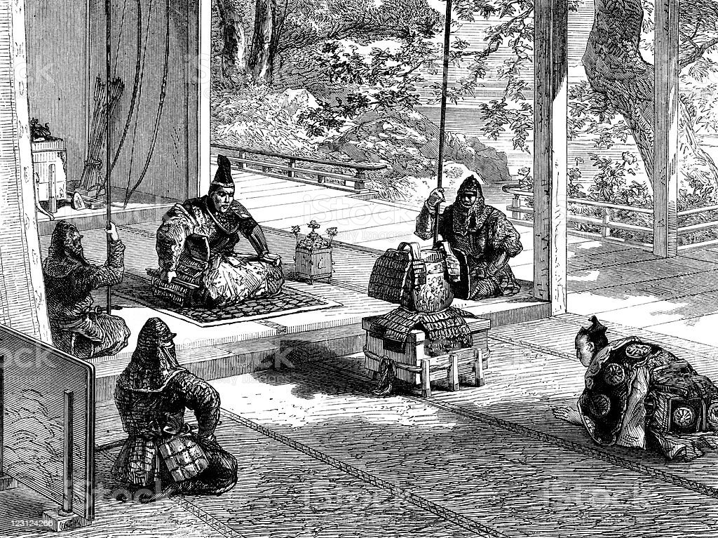 Shogun Investiture in Antique Japanese Illustration royalty-free stock vector art