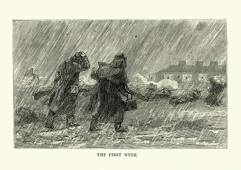 Vintage illustration of At the shooting range in torrential rain, Meeting of the National Rifle Association, Wimbledon, 1880s, 19th Century