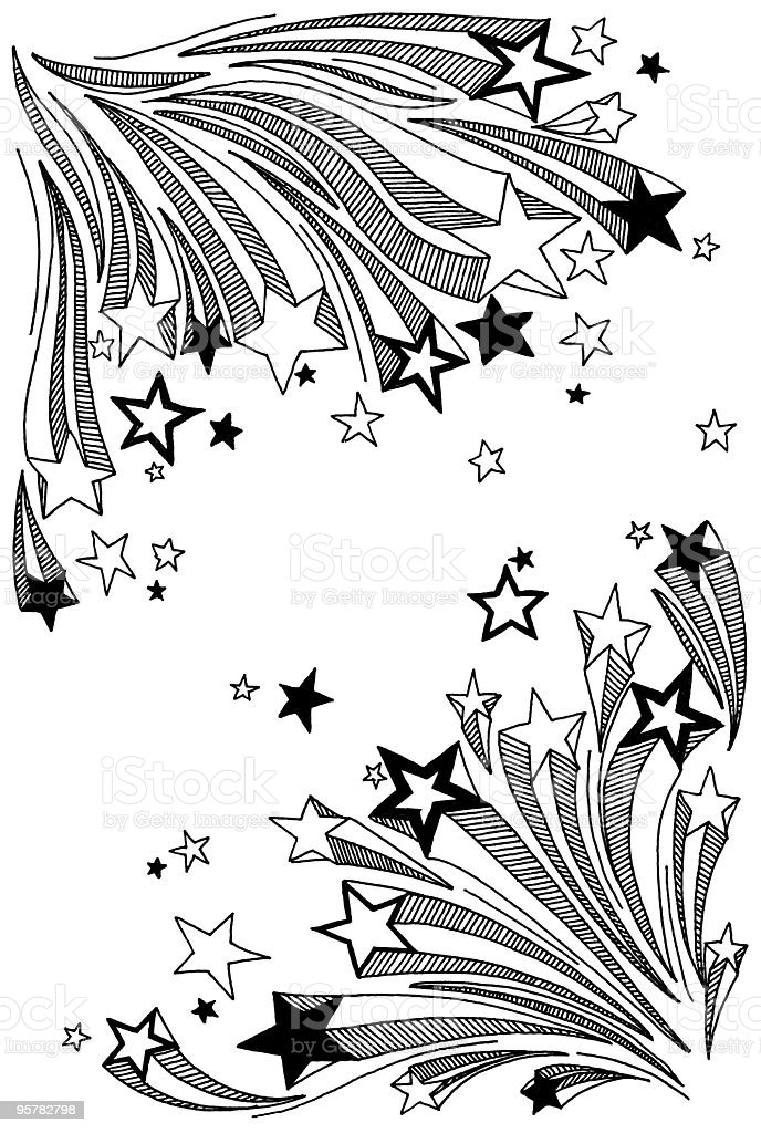shooting star coloring pages - shooting star doodles stock vector art more images of