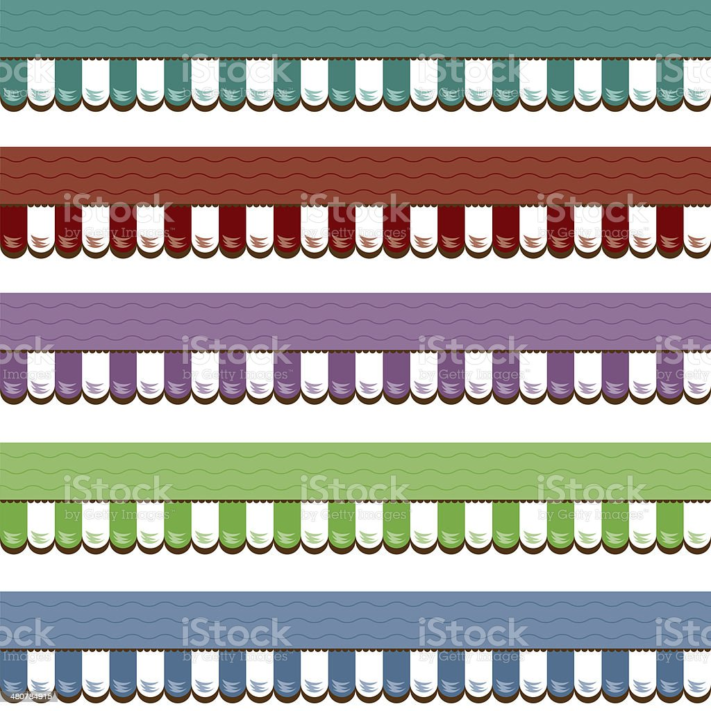 Shop Awnings Graphic Various Colors vector art illustration