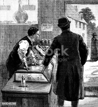 "A customer and youthful shopkeeper looking out of the shop's door, probably at a woman who is walking up the road. The shop appears to be a pharmacist's shop and the youth behind the counter is probably an apprentice. From ""The Sunday at Home: A Family Magazine for Sabbath Reading, 1888"". Published in London by the Religious Tract Society."