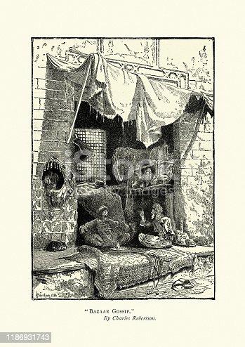 istock Shopkeepers gossip in middle eastern bazaar, 1880s, 19th Century 1186931743