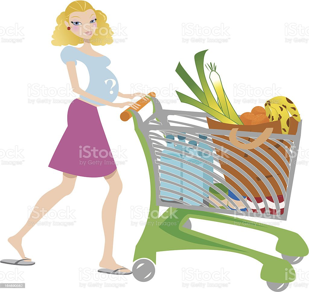 Shopping and pregnant royalty-free stock vector art