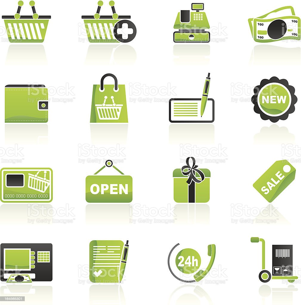 shopping and retail icons royalty-free shopping and retail icons stock vector art & more images of atm
