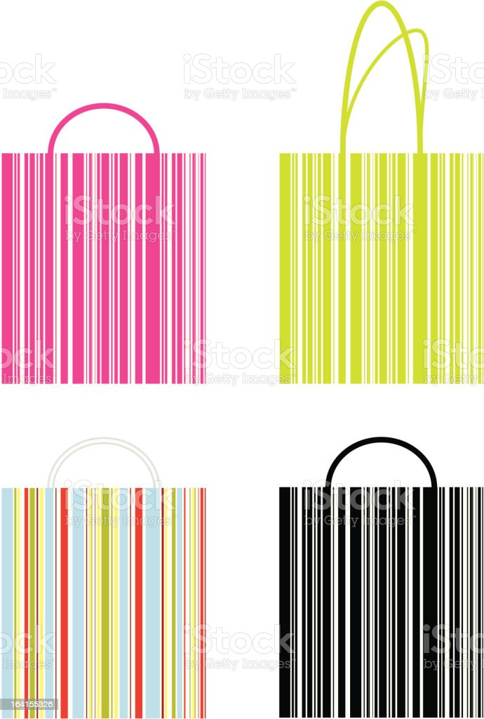 Shopping bags with barcode royalty-free stock vector art