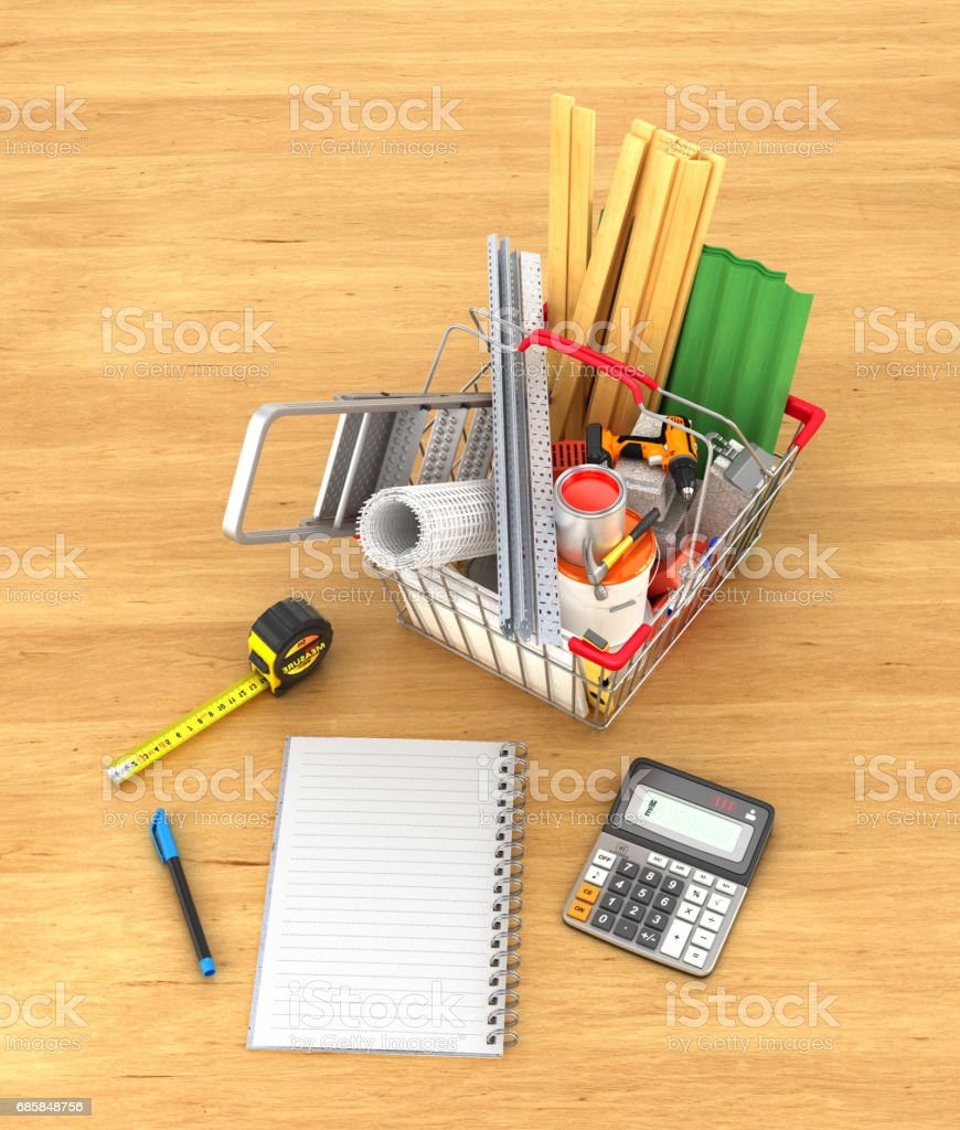 Shopping basket full of construction materials and tools near notebook on a wooden background. 3d illustration vector art illustration