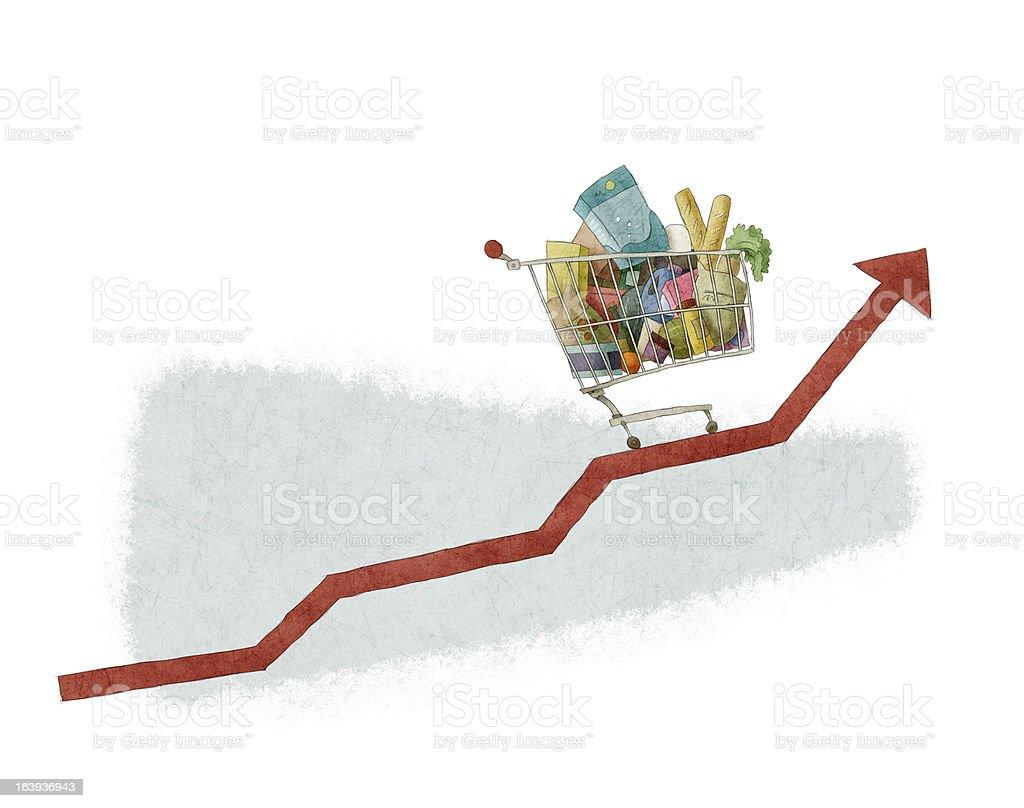 shopping cart growth royalty-free stock vector art