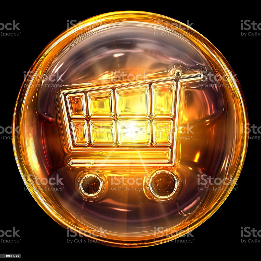 shopping cart icon gold, isolated on black background. royalty-free stock vector art