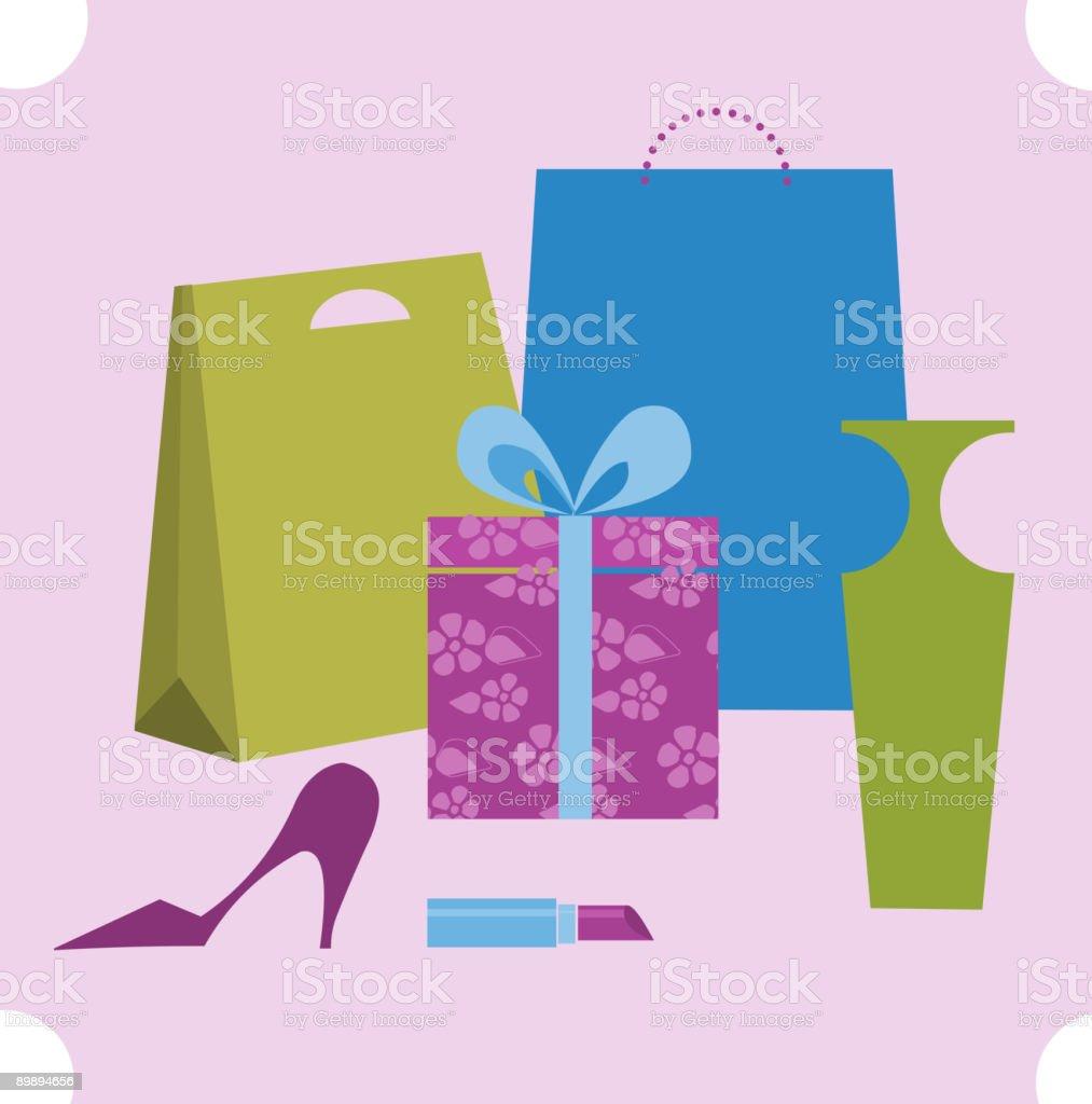 shopping-Elemente Lizenzfreies shoppingelemente stock vektor art und mehr bilder von 1950-1959