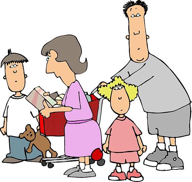 illustrations, cliparts, dessins animés et icônes de shopping famille ii - enfants de bande dessinée