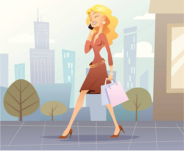 Shopping girl A young and pretty girl is walking by the street of a big city and she is speaking with her cellular. mistery stock illustrations