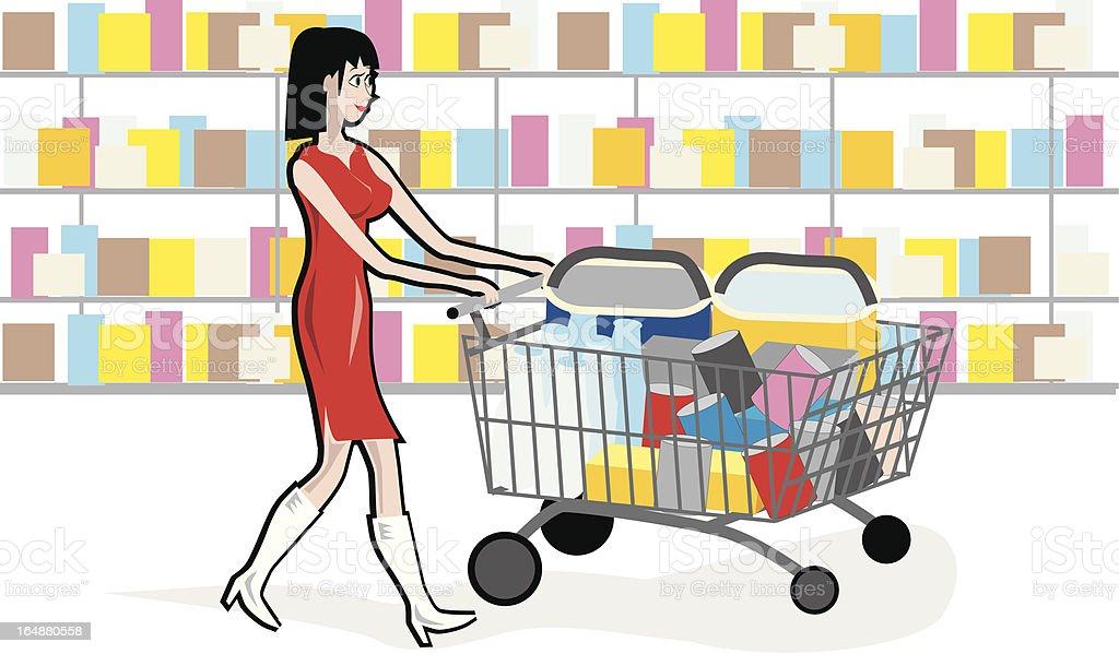 Shopping Girl Market royalty-free stock vector art