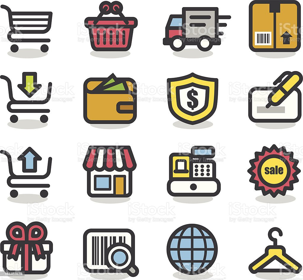 Shopping icon set | Contour Series royalty-free stock vector art