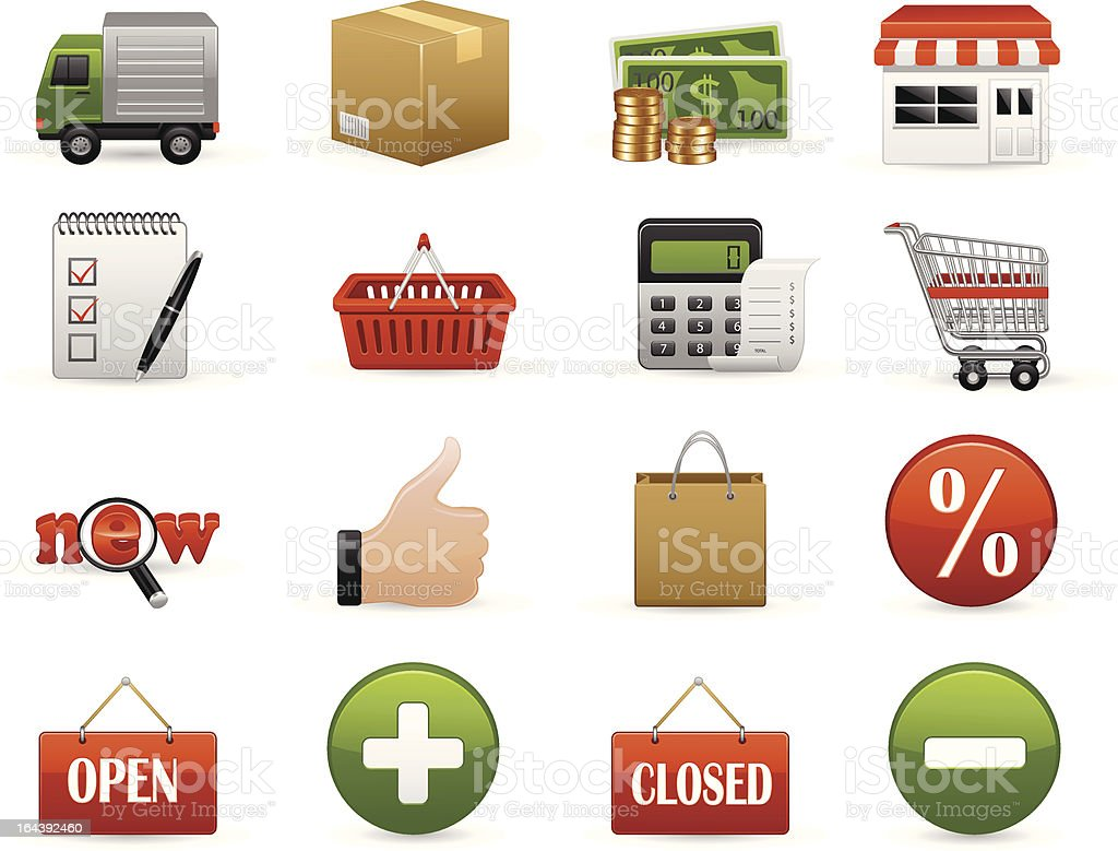 Shopping Icon Set royalty-free shopping icon set stock vector art & more images of business