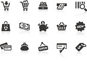 """""""Monochromatic shopping related vector icons for your design and application. Raw style. Files included: vector EPS, JPG, PNG and icons with euro (aA) symbol."""""""