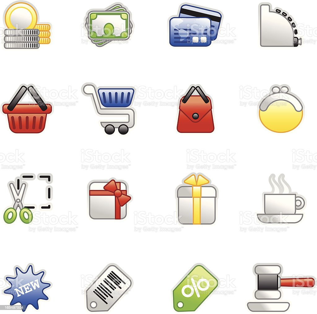Shopping icons (colored series) royalty-free stock vector art