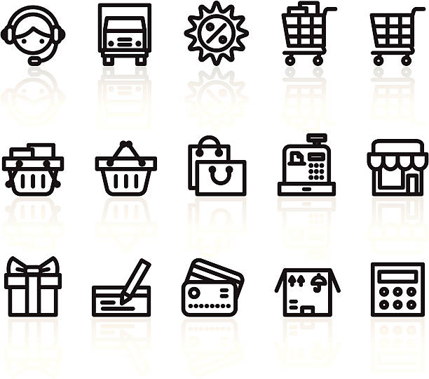 shopping icons Illustration of shopping icons on the white. commercial event stock illustrations