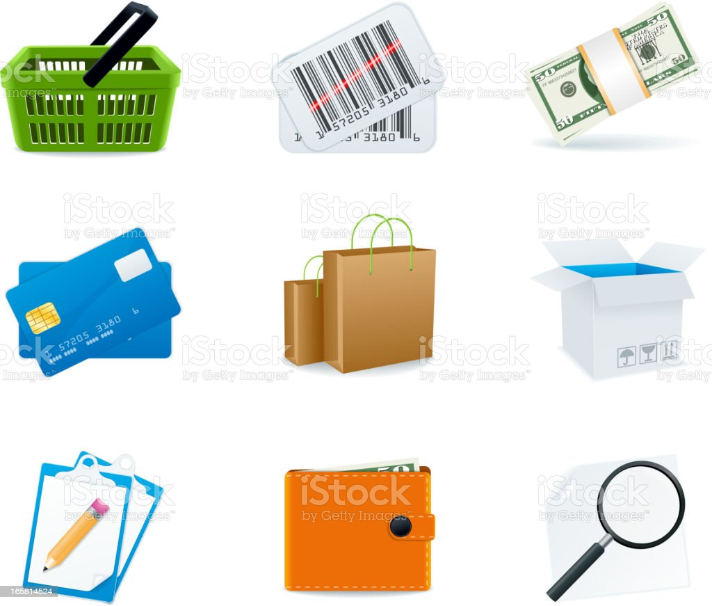 Shopping icons royalty-free shopping icons stock vector art & more images of bag