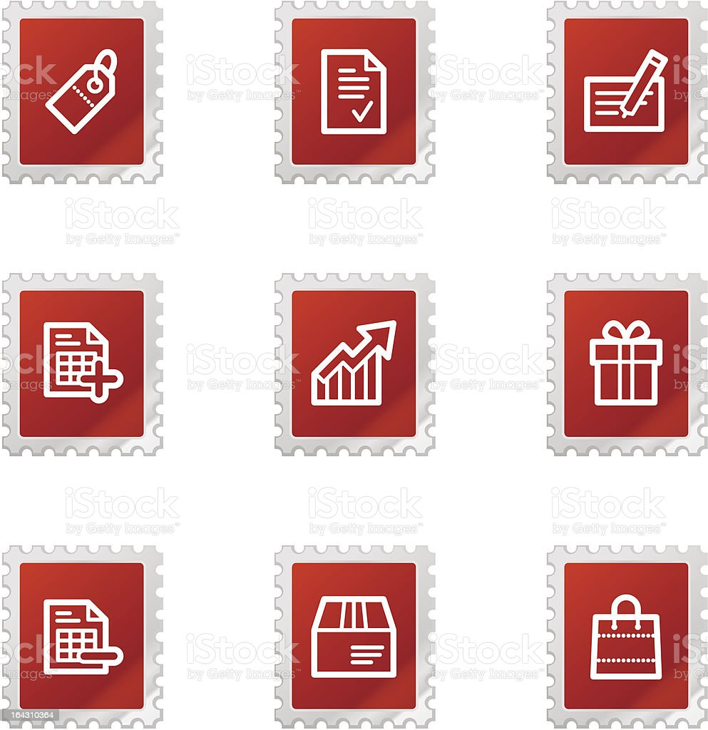 Shopping icons, red stamp series royalty-free stock vector art