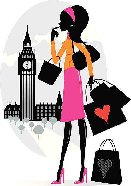 shopping in london - london fashion stock illustrations, clip art, cartoons, & icons