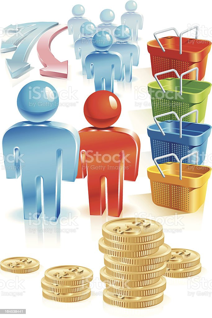 Shopping people cart royalty-free shopping people cart stock vector art & more images of arrow symbol