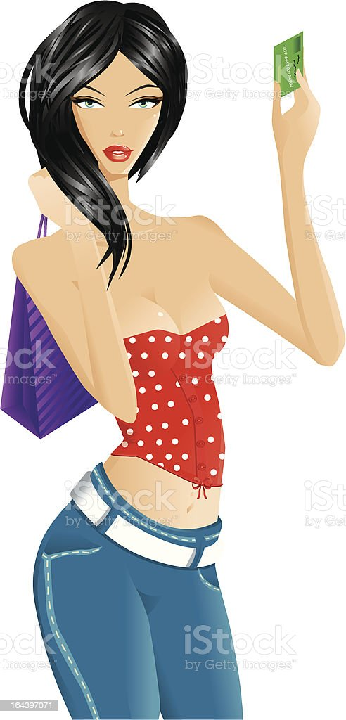 Shopping woman isolated on white royalty-free stock vector art