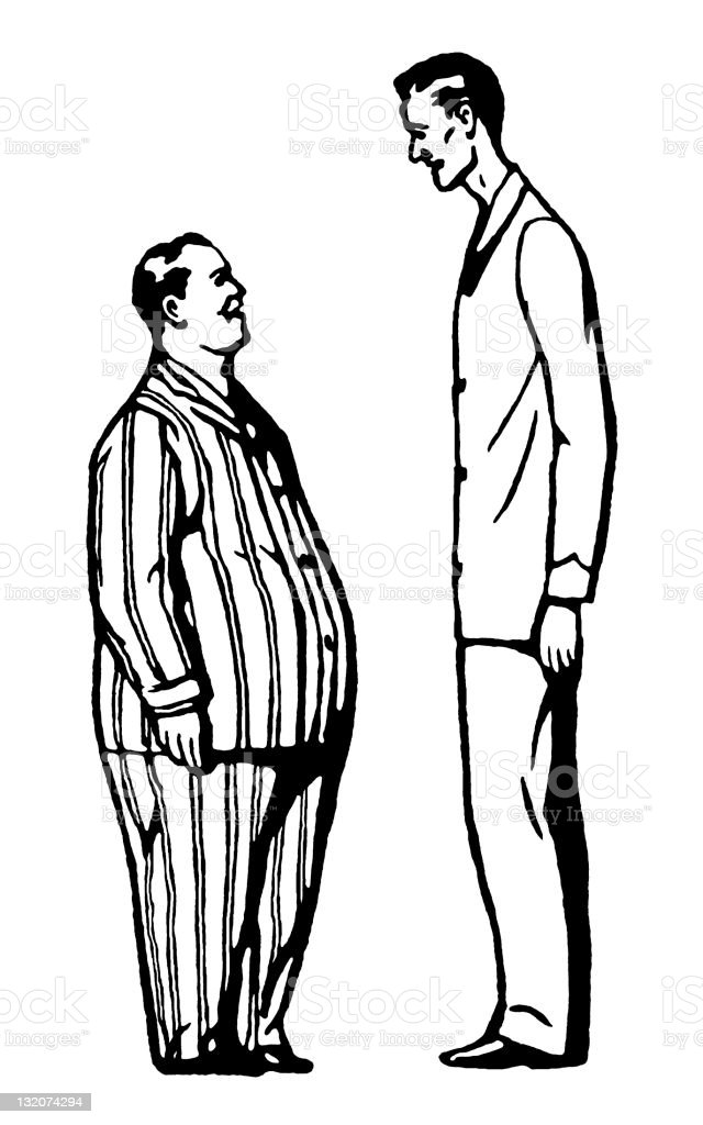 short fat man and tall thin man stock illustration download image now istock. Black Bedroom Furniture Sets. Home Design Ideas