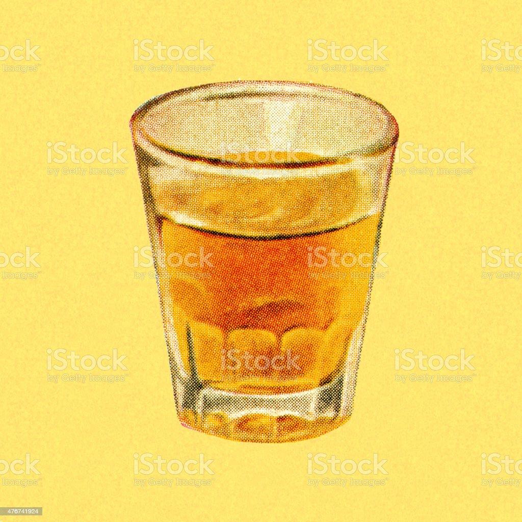 Shot Glass of Liquor vector art illustration