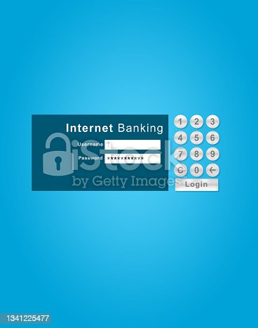 istock Shot of the log in screen of an internet banking webpage against a blue background 1341225477