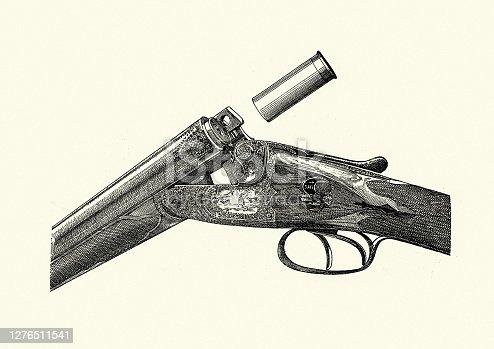 istock Shotgun cartridge ejecting, Victorian guns, 19th Century 1276511541