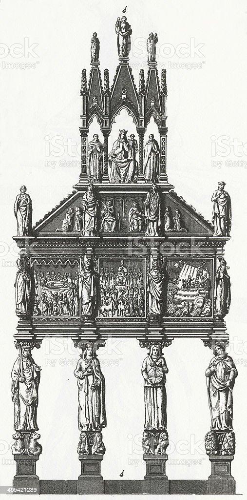 Shrine of St. Peter Engraving vector art illustration