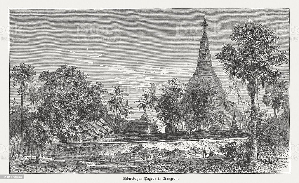 Shwedagon Pagoda in Yangon (Rangoon), wood engraving, published in 1873 vector art illustration