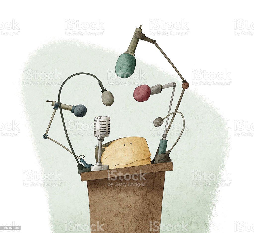 Shy man at the podium giving speech royalty-free stock vector art