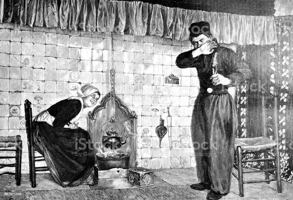 Hombre joven tímido quiere hablar con una mujer joven sentada en la cocina, sonriendo - ilustración de arte vectorial