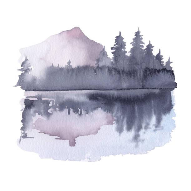 Siberia. species of nature. Siberia. species of nature. watercolor illustration mountains in mist stock illustrations