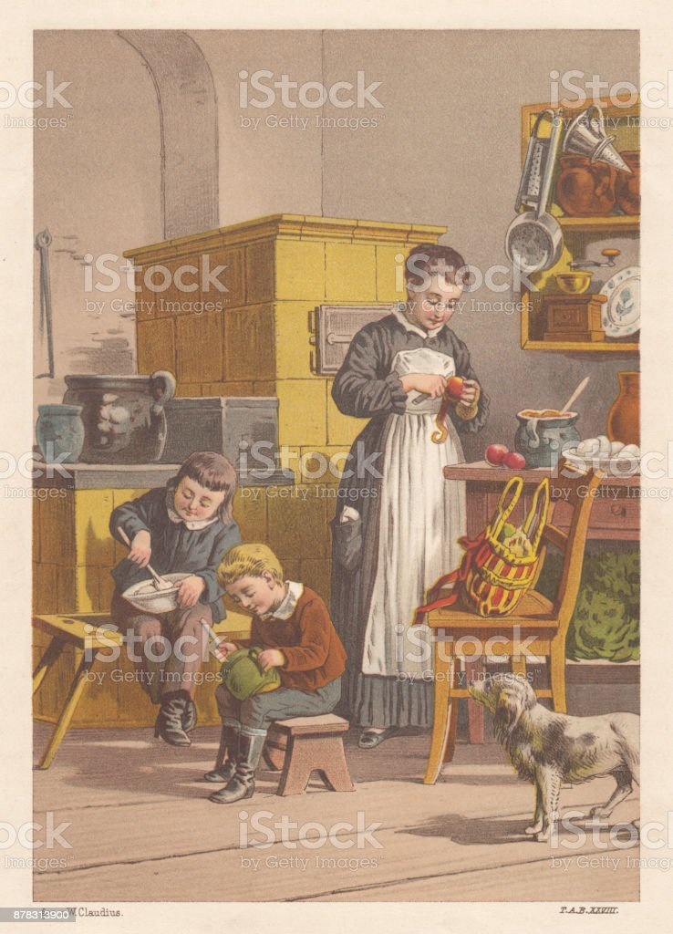 Siblings and nanny preparing food, nostalgic scene from the past vector art illustration
