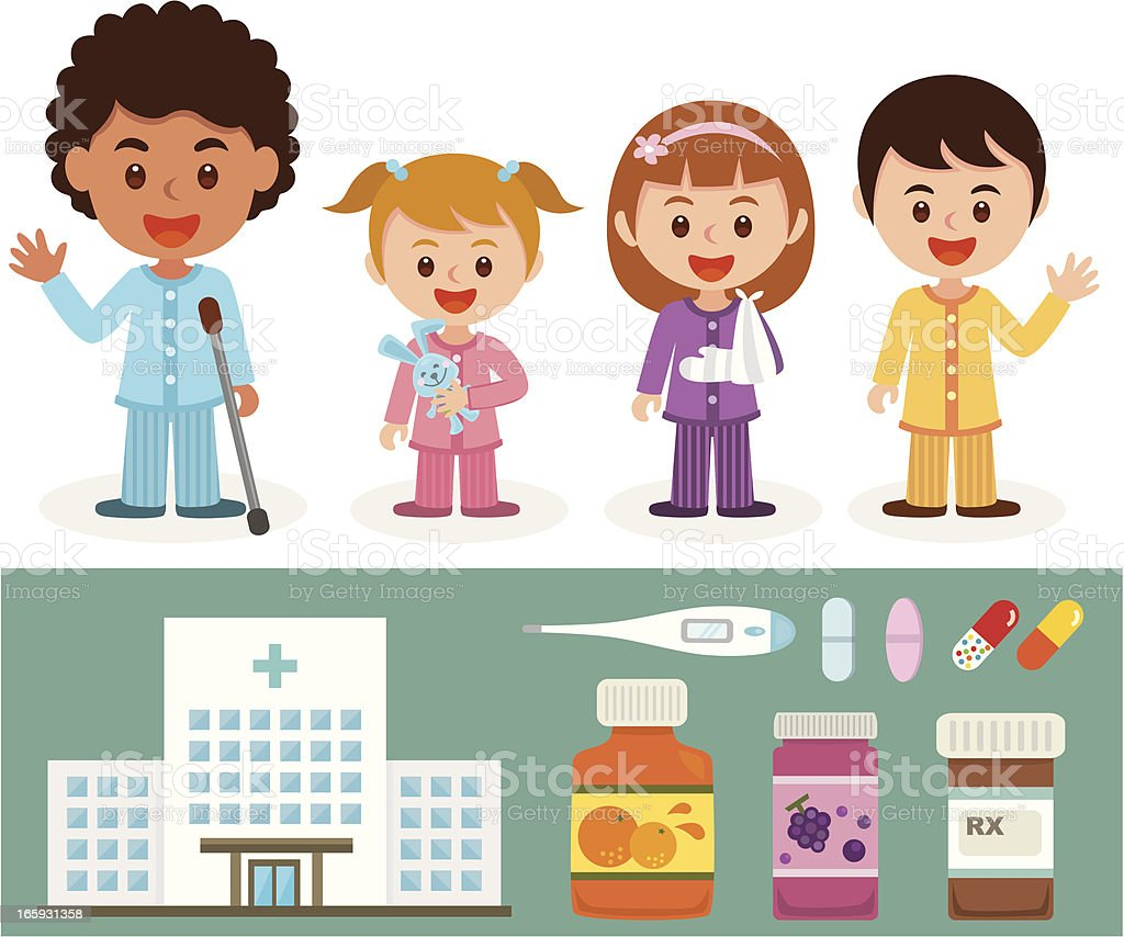 sick children in hospital royalty-free stock vector art