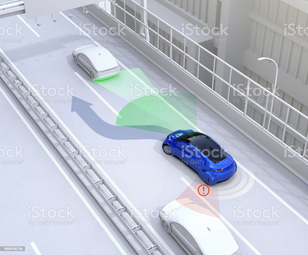 Side view assist system avoid car accident when changing lane vector art illustration