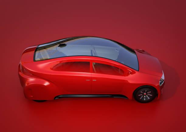 濃い赤の背景に赤の自律走行車のサイドビュー - 自動運転車点のイラスト素材/クリップアート素材/マンガ素材/アイコン素材