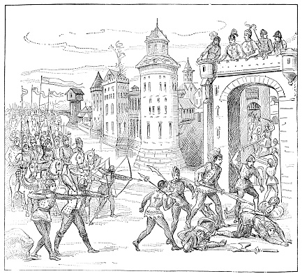 Siege of Bristol from Froissart's Chronicles - 14th Century