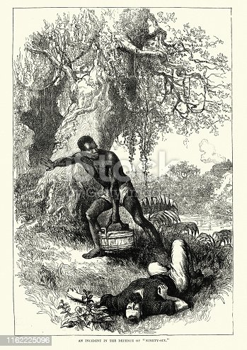 Vintage engraving of an incident during the Siege of Ninety-Six, South Carolina, American Revolutionary War.