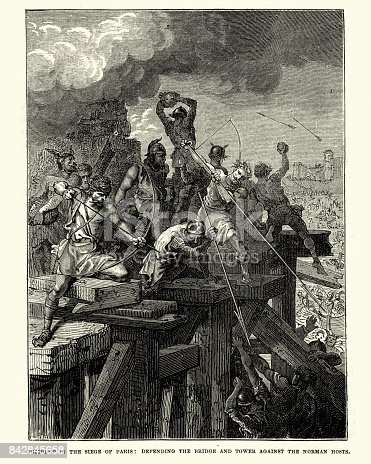 Vintage engraving of the Siege of Paris (885–86). The Siege of Paris of 885–86 was part of a Viking raid on the Seine, in the Kingdom of the West Franks.