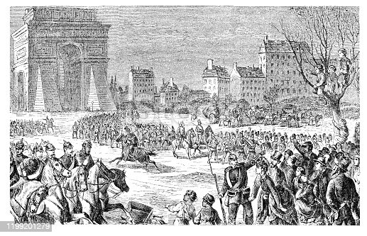German army entering Paris 1 march 1871 The siege of Paris, lasting from 19 September 1870 to 28 January 1871, and the consequent capture of the city by Prussian forces, led to French defeat in the Franco-Prussian War and the establishment of the German Empire as well as the Paris Commune. Original edition from my own archives Source : Beckers Weltgeschichte 1886