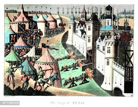 Vintage engraving showing the Siege of Tunis in 1390 (aslo know as Siege of Mahdia).  One of the last crusades its aim was the stop the pirates who were operating from the  Barbary coast, of North Africa.