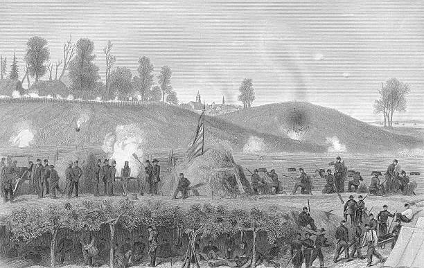 Siege of Vicksburg - 19th Century Engraving Civil War A beautiful engraving from 1877.  This is an engraving of the siege of Vicksburg by Grant and the Union Army of the Tennessee.  Public domain. Photo M. Poe high resolution, 600dpi.   war effort stock illustrations