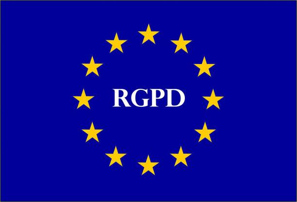 DSGVO Zeichen Abbildung genannt RGPD in französischer Sprache – Vektorgrafik