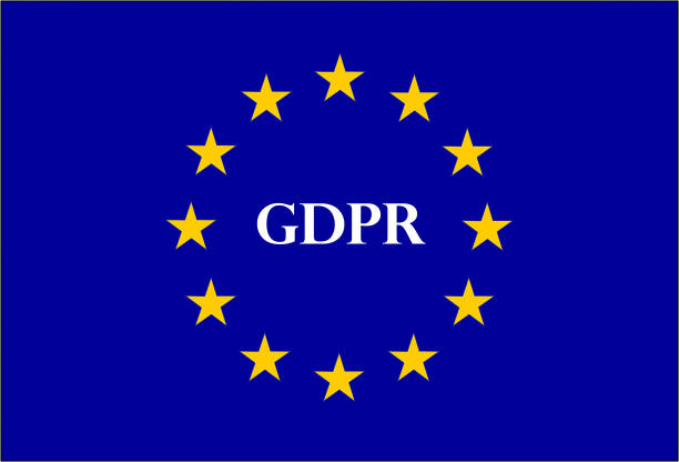 DSGVO Zeichen Abbildung auf eine europäische Flagge – Vektorgrafik